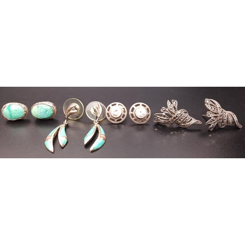 43 - FOUR PAIRS OF SILVER EARRINGS of various designs including turquoise, marcasite and stone set (4 pai...