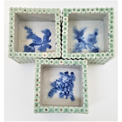 47 - THREE CHINESE PORCELAIN SQUARE PLANTERS decorated as square bamboo planters, the interiors painted w...