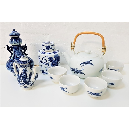 48 - SELECTION OF EAST ASIAN BLUE AND WHITE CERAMICS including a tea pot with a swing bamboo handle and f...