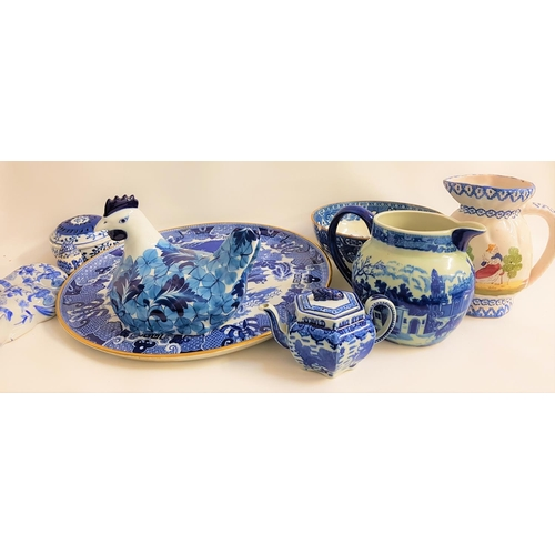 49 - MIXED LOT OF CHINA including a large blue and white Copeland charger with a later applied brass cent...