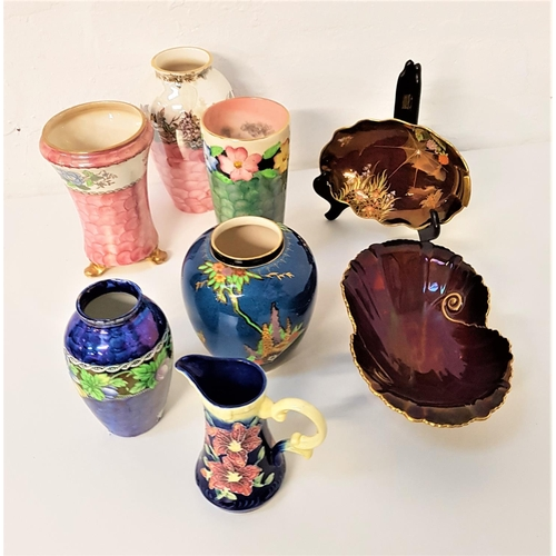 51 - SELECTION OF LUSTRE GLAZED AND OTHER DECORATIVE CERAMICS including a Carlton Ware red ground shaped ...