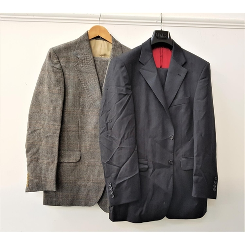 66 - GENTLEMAN'S DAKS TWO PIECE SUIT in charcoal grey, jacket 40R; and another DAKS two piece suit brown ...