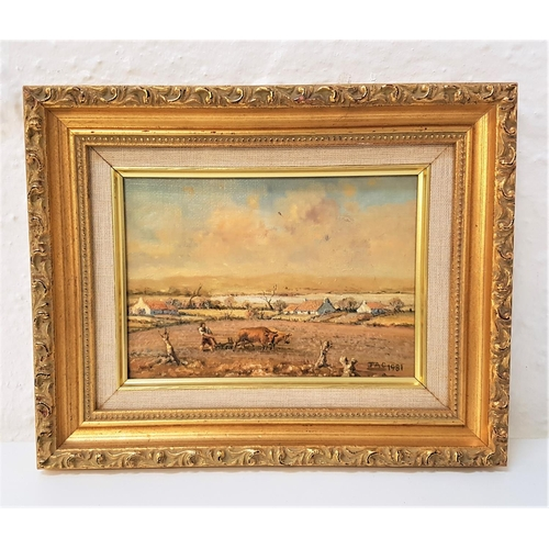 108 - JAC Plough, Oxen, oil on board, initialled and dated 1981, inscribed to verso, 11.5cm x 16.5cm...