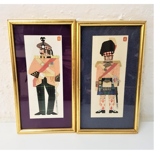 109 - VB Royal Scots and Cameron Highlanders 1810, both mixed media, initialed, 21.5cm x 9cm and 21.5cm x ...