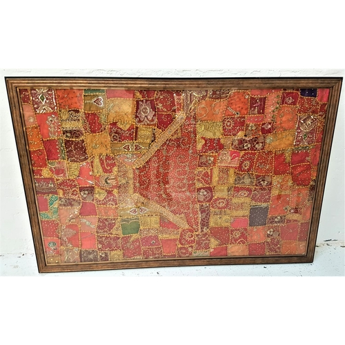 110 - EMBROIDERED STUDY possibly Indian, an embroidered picture of irregular sized panels of various colou...