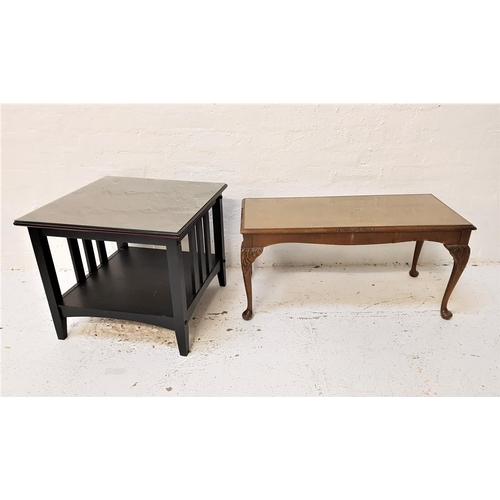 114 - ARTS AND CRAFTS STYLE OCCASIONAL TABLE with a square moulded top above two open and two slatted side...