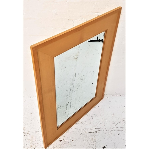124 - LARGE LIGHT OAK WALL MIRROR with a beveled plate in a stepped frame, 124cm x 93cm...