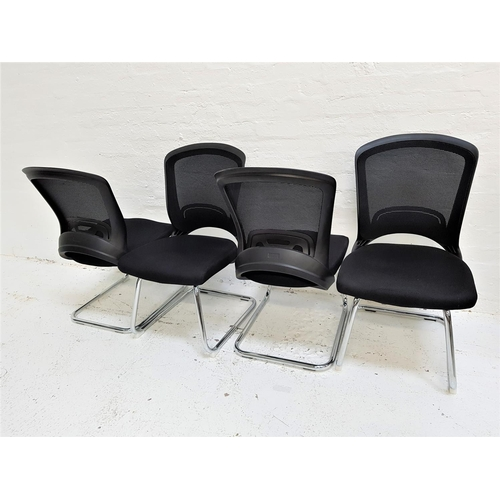 132 - SET OF FOUR OFFICE CHAIRS with shaped mesh fabric backs above black fabric padded seats, standing on...