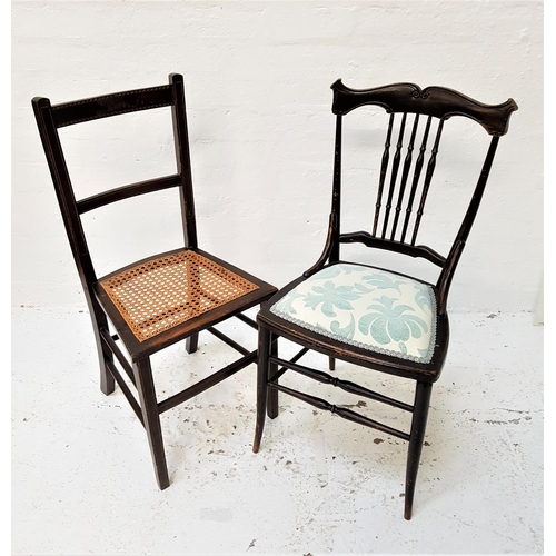 135 - STAINED OAK AND INLAID SIDE CHAIR with a a caned seat, standing on tapering front supports united by...