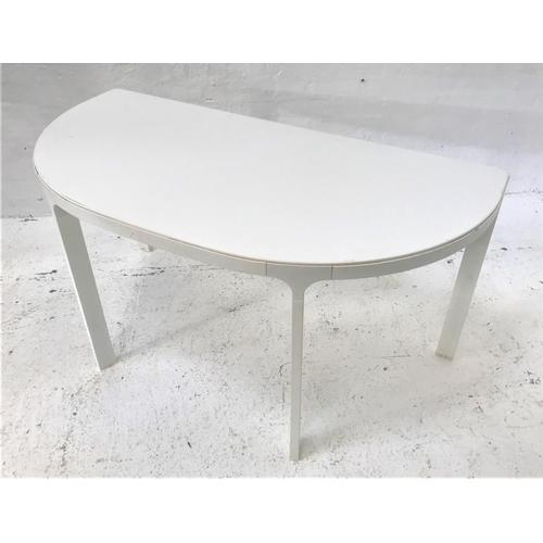 136 - IKEA 'BEKANT' METAL FRAMED D SHAPED TABLE in white, 140cm wide