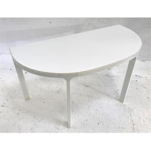 137 - IKEA 'BEKANT' METAL FRAMED D SHAPED TABLE in white, 140cm wide...
