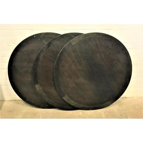 111 - THREE MAHOGANY CIRCULAR BAR TABLE TOPS 100cm diameter...