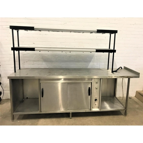 123 - COMMERCIAL KITCHEN STAINLESS STEEL HOT CUPBOARD AND SERVERY UNIT the undercounter with double slidin...