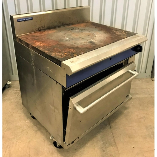 141 - BLUE SEAL SOLID TOP STOVE with oven, both gas (damage to door hinge)...