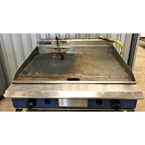 144 - BLUE SEAL GAS PLANCHA GRIDDLE on stainless steel unit with casters...