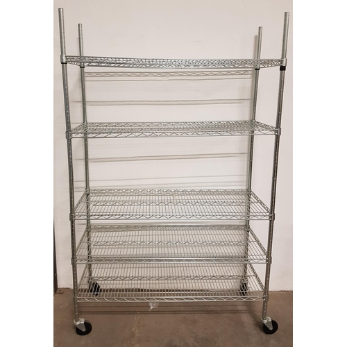 1 - COMMERCIAL CHROME WIRE SHELVING UNIT with five shelves, on wheels, 197cm x 120cm x 46cm...
