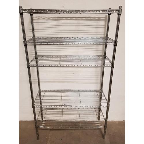 12 - COMMERCIAL CHROME WIRE SHELVING UNIT with five shelves, 160cm x 91cm x 35cm...