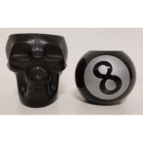 126 - SELECTION OF TEA LIGHT HOLDERS in the forms of skulls (8) and 8 balls (14)...
