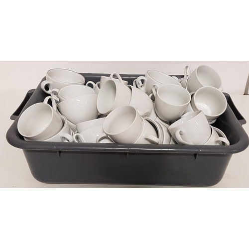 128 - SELECTION OF WHITE TEA/COFFEE CUPS of various sizes, approximately 50...