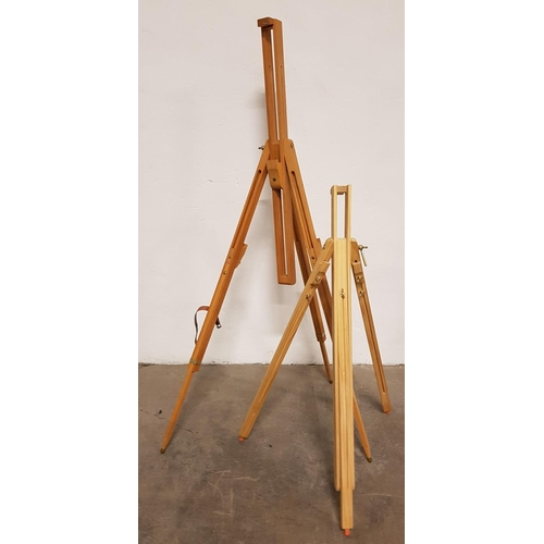 14 - TWO ADJUSTABLE WOODEN PICTURE EASELS...