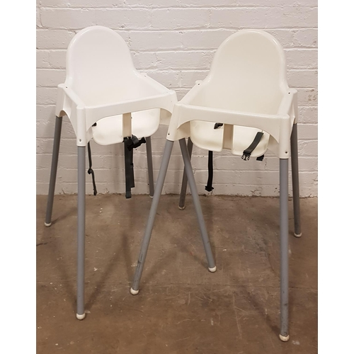 140 - TWO PLASTIC HIGH CHAIRS...