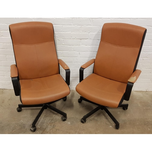 155 - TWO BROWN LEATHER EFFECT OFFICE CHAIRS on adjustable stands with wheels