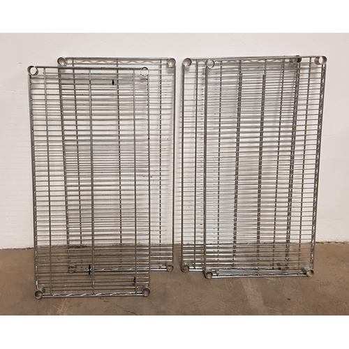 16 - SET OF FOUR CHROME WIRE SHELVES for commercial racking units, all 91.5cm x 45.5cm...