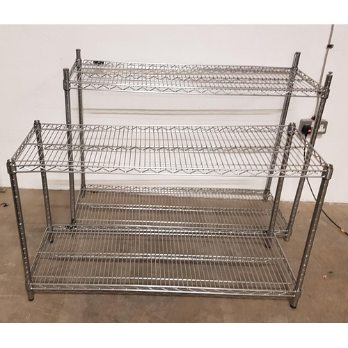 18 - TWO COMMERCIAL CHROME WIRE SHELVING UNITS each with two shelves, 91cm and 71cm high respectively, th...