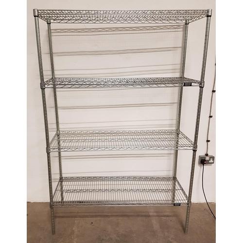 19 - COMMERCIAL CHROME WIRE SHELVING UNIT with four shelves, 183cm x 121cm x 46cm...