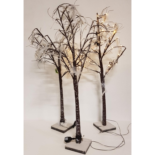 36 - THREE ARTIFICIAL TREES WITH FAIRY LIGHTS...
