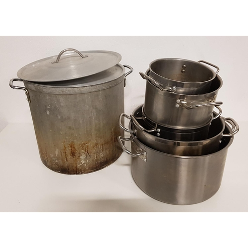 38 - SELECTION OF SIX GRADUATED COOKING POTS including a large stock pot with lid (6)...