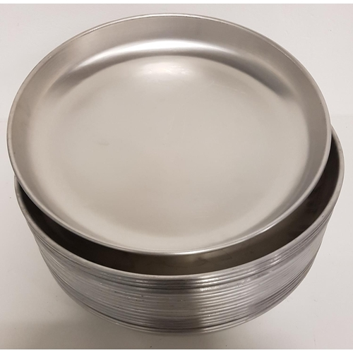 43 - EIGHTEEN LARGE STAINLESS STEEL SHALLOW TRAYS/DISHES 48cm diameter and 6cm deep...