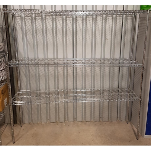 49 - COMMERCIAL CHROME WIRE SHELVING UNIT with three shelves, 83cm x 182cm x 46cm...