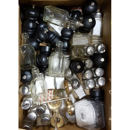 59 - LARGE SELECTION OF SALT AND PEPPERS of various sizes and designs; and vinegar bottles