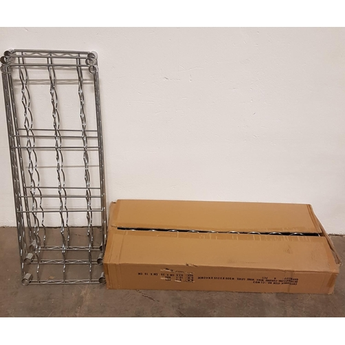 6 - SEVEN CHROME WIRE WINE SHELVES for commercial racking units, all 91cm x 35.5cm, with a selection of ...
