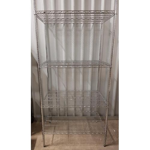 61 - COMMERCIAL CHROME WIRE SHELVING UNIT with four shelves, 89cm x 90.5cm x 61cm