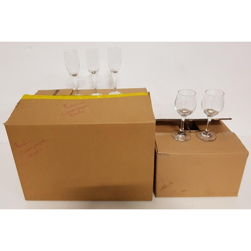 63 - LARGE SELECTION OF CHAMPAGNE FLUTES together with eight small wine glasses...
