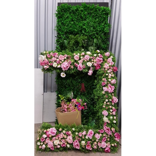 65 - LARGE ARTIFICIAL PLANT WALL approximately 250cm x 100cm; together with two artificial flower and pla...