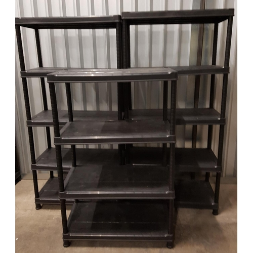 68 - THREE CLICK SYSTEM BLACK PLASTIC SHELVING UNITS two with five shelves, approximately 183cm x 88.5cm ...