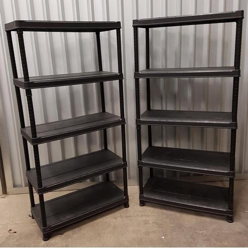 75 - TWO CLICK SYSTEM BLACK PLASTIC SHELVING UNITS both with five shelves, 183cm x 88.5cm x 45cm