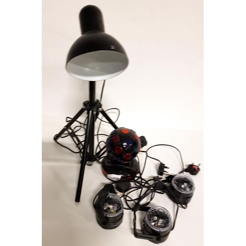 78 - BLACK TRIPOD SUPPORT ADJUSTABLE DESK LAMP together with a table top disco light and three wall mount...
