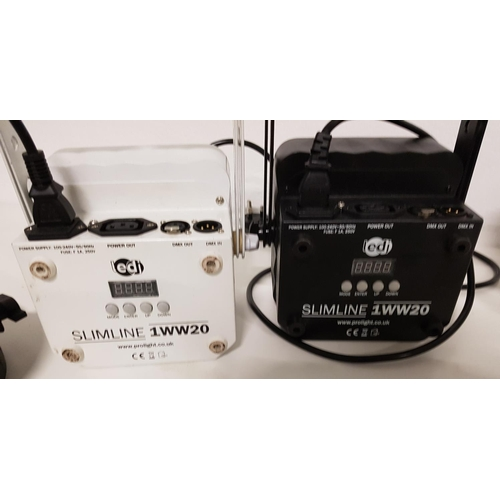79 - SELECTION OF LIGHTING comprising two Prolight ledj slimline 1WW20 stage lights, one white and one bl...