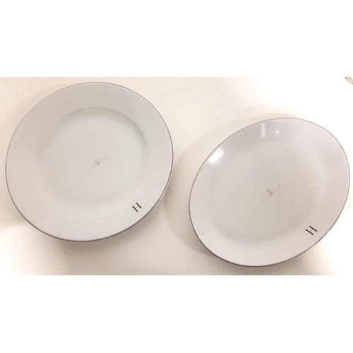 88 - TEN PORCELITE DINNER PLATES AND TEN PORCELITE OVAL PLATES all with H monogram and central decorative...