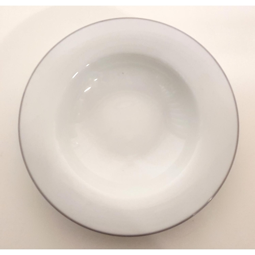 """93 - THIRTY-THREE 8 1/2"""" SOUP BOWLS by Blueprint, in white with grey rim..."""