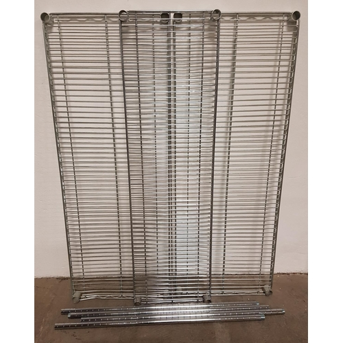 94 - THREE COMMERCIAL CHROME WIRE SHELVES Two 122cm x 46cm and one 122cm x 35cm; together with four exten...