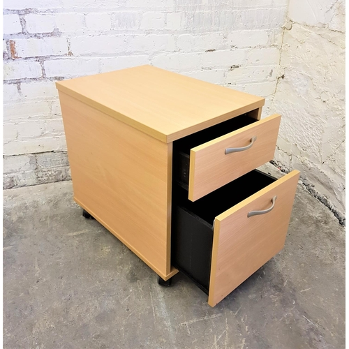 182 - UNDER DESK DRAWER AND OPEN LEAF FILING CABINET in beach effect veneer with casters, 43cm wide, 60cm ...