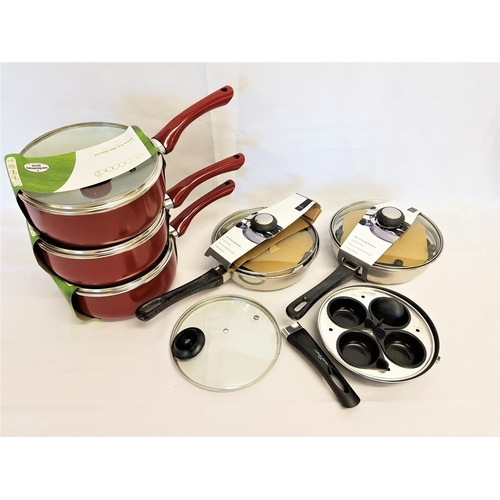 199 - THREE ECOCOOK SAUCE PANS with glass lid together with two non stick egg poachers and a Clifford Jame...