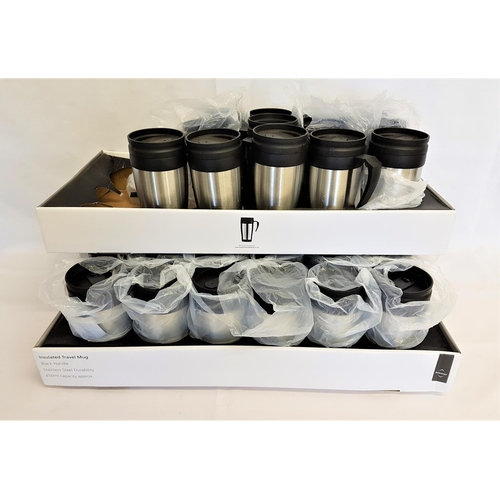 200 - 31 INSULTED TRAVEL MUGS black handle, stainless steel durability, 450ml capacity...