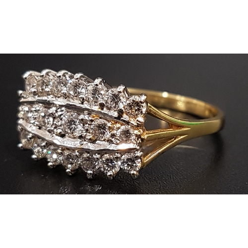 8 - DIAMOND CLUSTER DRESS RING the multiple diamonds in three rows totaling approximately 0.85cts, on ei...