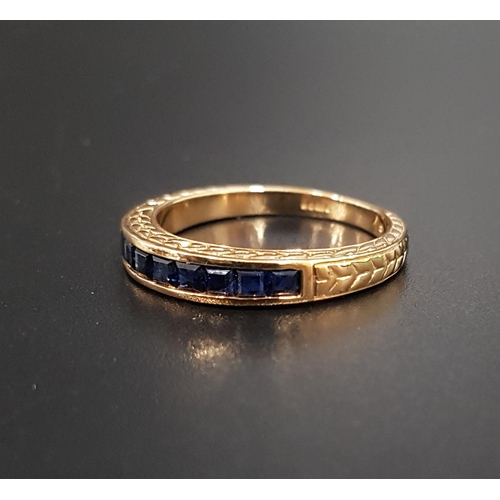 129 - CHANNEL SET SAPPHIRE RING the square cut sapphires totaling approximately 0.6cts, on nine carat gold...